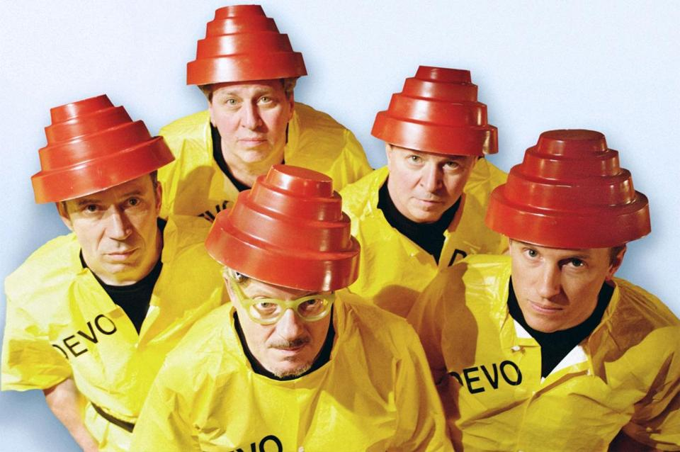 The new wave band Devo are shown in this undated publicity photo released to Reuters March 10, 2009. The band is putting the finishing touches on its first studio album since 1990, a spokeswoman said on Tuesday. REUTERS/Devo/Handout (UNITED STATES ENTERTAINMENT) NO SALES. NO ARCHIVES. FOR EDITORIAL USE ONLY. NOT FOR SALE FOR MARKETING OR ADVERTISING CAMPAIGNS